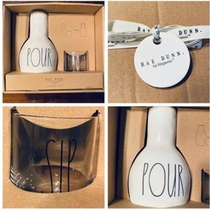 """Rae Dunn Bedside Water Carafe Set """"POUR and """"SIP"""""""